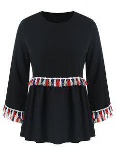 Blusa De Borlas De Colores De Talla Grande - Negro 3xl
