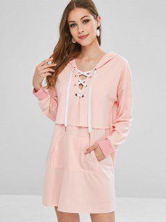 Encaje Hasta La Bolsa De Bolsillo Con Capucha Vestido - Rosa Luz L