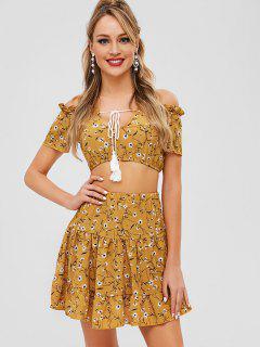 Floral Off The Shoulder Top And Skirt Co Ord Set - Multi L