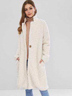 Manteau D'hiver En Fausse Fourrure Avec Un Bouton - Blanc Chaud M