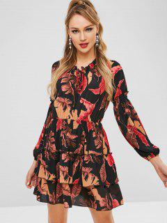 ZAFUL Mini Tier Flounce Leaves Print Dress - Multi Xl
