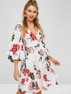 ZAFUL Flare Sleeve Flower Print Wrap Dress - Multi L