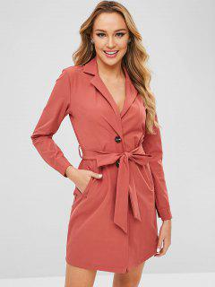 ZAFUL Lapel Button Up Belted Blazer Dress - Chestnut Red L
