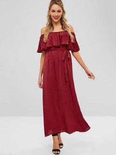 Maxi Flounce Off Shoulder Party Dress - Red Wine L