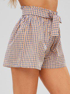 Checkered Tie Waist High Waisted Shorts - Multi-a L