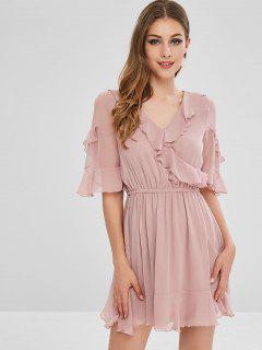 V Neck Ruffles Flounce Dress - Pig Pink M