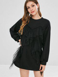Robe Sweat-shirt Avec Bordure En Tulle - Noir
