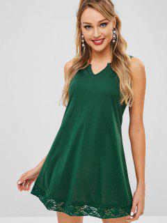 Notched Collar Lace Panel Trapeze Dress - Green M