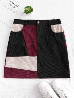 Patchwork Corduroy Mini Skirt - Multi-a S