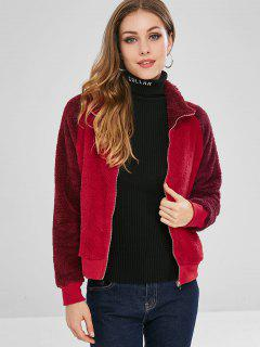 Color Block Raglan Sleeves Fluffy Jacket - Chestnut Red M