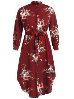 Robe Chemise Mi-Longue Fleurie Imprimée De Grande Taille Avec Ceinture - Rouge Vineux 3xl