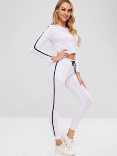 Ensemble T-shirt Et Pantalon De Jogging à Rayures Latérales - Blanc Xl