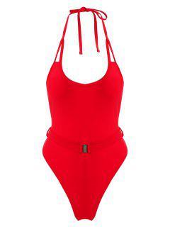 ZAFUL Halter Belt High Cut Swimsuit - Lava Red M
