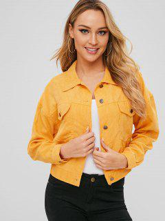 Front Pocket Corduroy Jacket - Yellow S