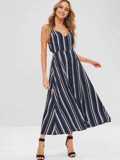 Striped Tie Backless Maxi Dress - Deep Blue S