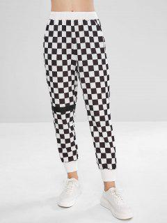 Patched Checkered Jogger Pants - White M