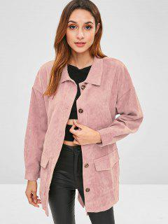 Corduroy Tunic Shirt Jacket With Belt - Pink L