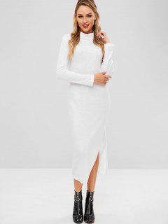 Slit Turtleneck Knitted Dress - White M