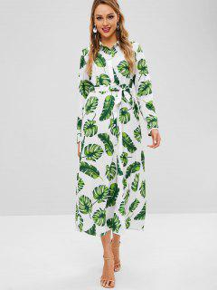 Palm Leaves Belted Maxi Dress - Multi-a S