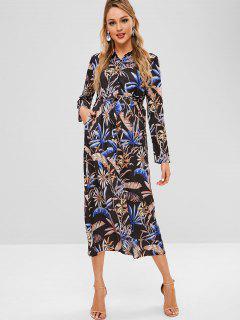 Button Up Leaves Print Belted Dress - Multi-a L