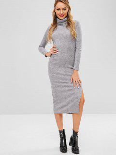 Slit Turtleneck Knitted Dress - Gray S