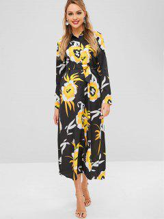 Buttoned Floral Print Belted Maxi Dress - Black L