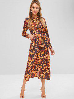 Floral Print Belted Maxi Dress - Multi-a L