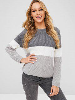 Raglan Sleeves Color Block Chunky Sweater - Gray Cloud