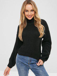 Turtleneck Lantern Sleeve Plain Sweater - Black