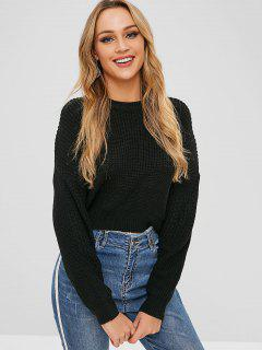Drop Shoulder Pullover High Low Sweater - Black