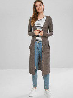 Front Pocket Longline Cardigan - Gray M