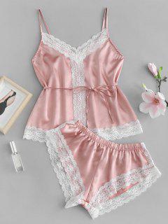 Conjunto De Pijama De Satén Con Aplicación De Encaje De Cami - Rosa Naranja Xl