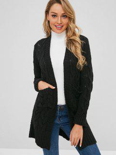 Cable Knit Pocket Longline Cardigan - Black
