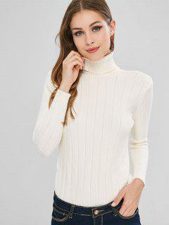 Suéter De Cuello Alto Sin Mangas - Blanco Cálido