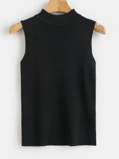 Camiseta Sin Mangas Con Cuello Redondo De Punto Acanalado - Negro