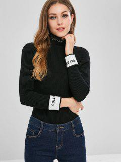 Turtleneck Ribbed Graphic Sweater - Black