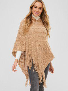 Fringed Textured Hooded Cape Sweater - Light Khaki