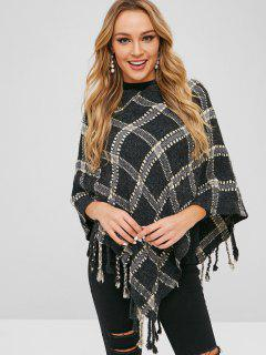 Geometric Graphic Tassels Cape Sweater - Gray