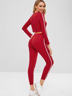 Ensemble T-shirt Et Pantalon De Jogging à Rayures Latérales - Rouge Vineux S