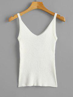 Camiseta Sin Mangas De Canalé Con Cuello En V Doble - Blanco