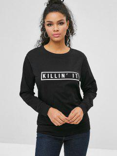 Long Sleeve Comfy Letter Graphic Sweatshirt - Black M