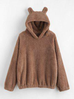 Cat Ear Fleece Pullover Hoodie - Camel Brown M