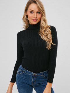 Turtleneck Ribbed Jumper Sweater - Black