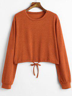 Kordelzug Taille Zugeschnittener Pullover - Papaya Orange L
