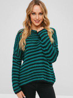 Lose Streifen Klobiger Pullover - Multi