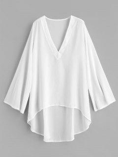 Robe De Plage Haute En Mousseline - Blanc
