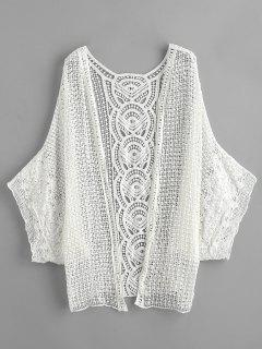 Sheer Crochet Kimono Beach Cover Up - Blanc
