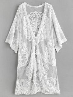 Sheer Lace Kimono Beach Cover Up - White