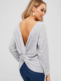 Twist Heathered Open Back Sweater - Gray Xl