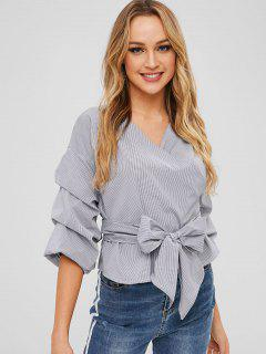 V Neck Striped Pleated Sleeves Belted Blouse - Black S